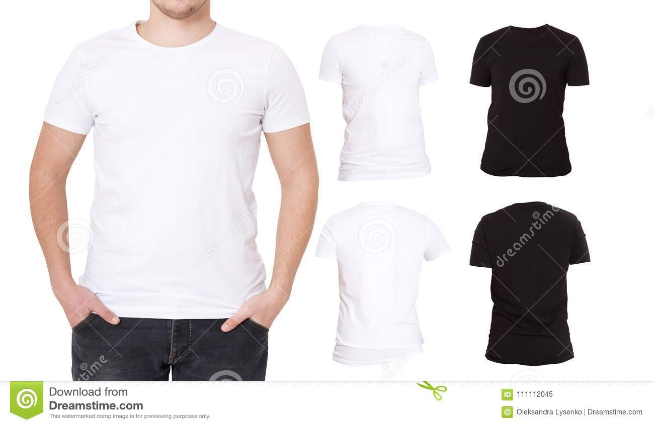 Collage T Shirts Black White Front And Back View Shirt Template