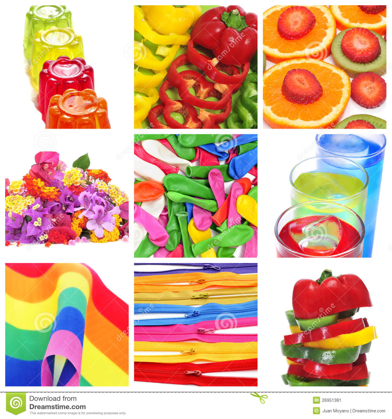 Collage of things of different colors