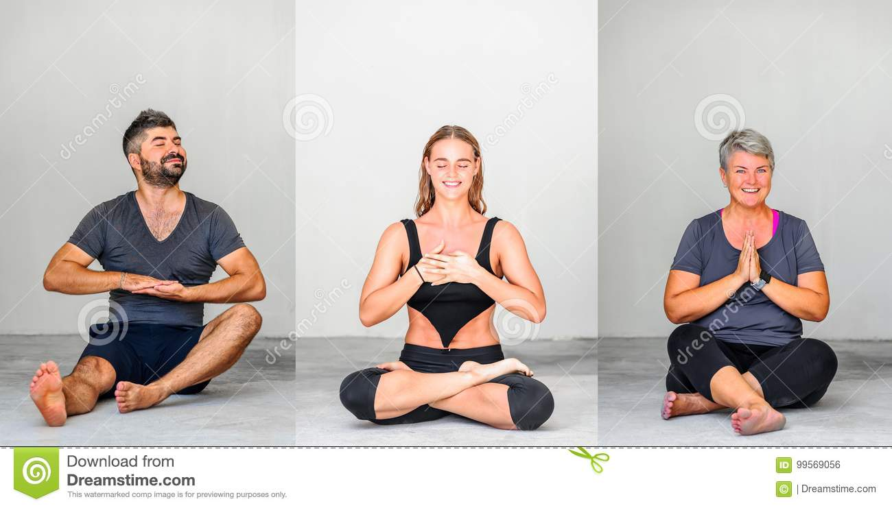 Collage of three: Yoga students showing different yoga poses