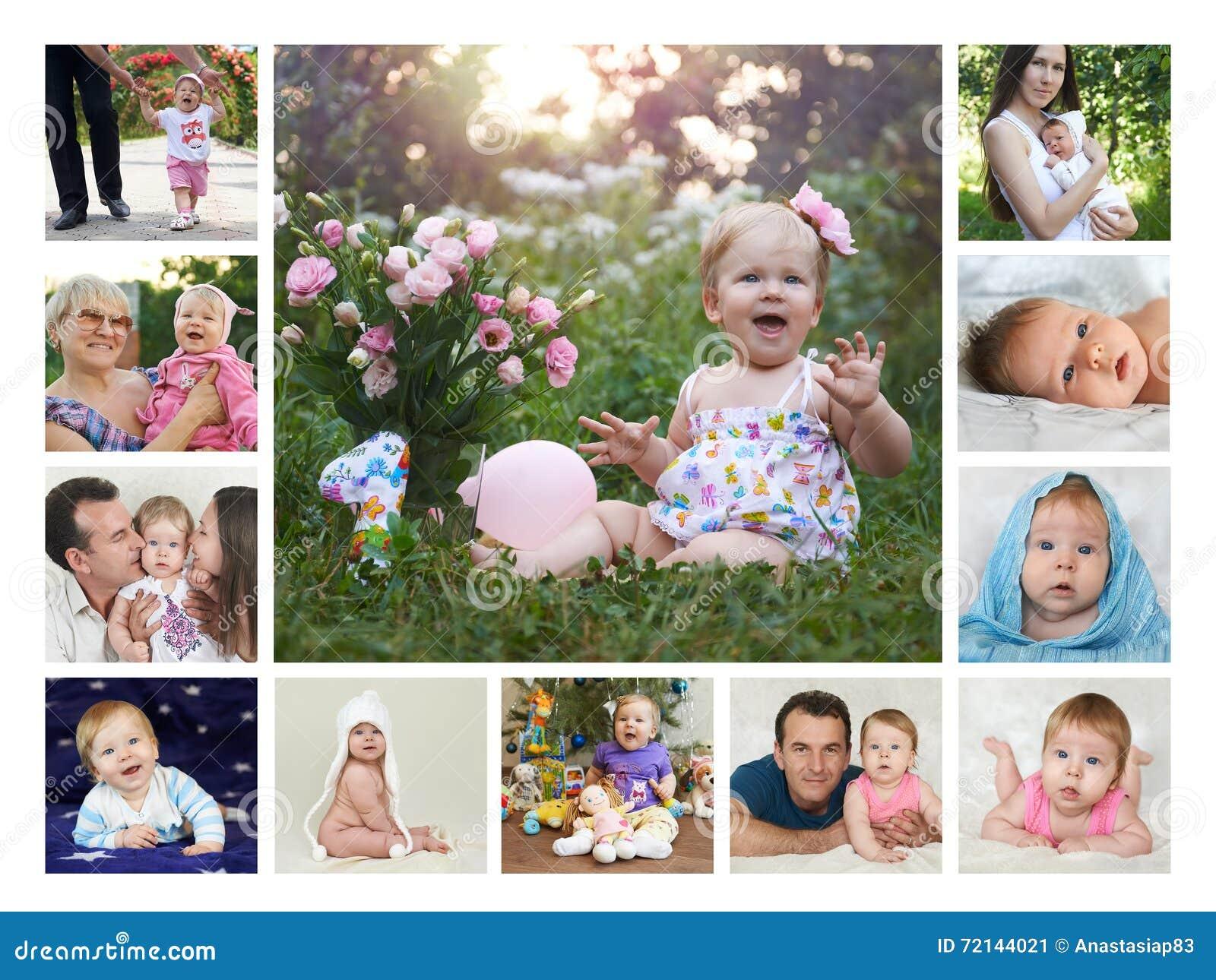 Collage tolv månader av första behandla som ett barn år