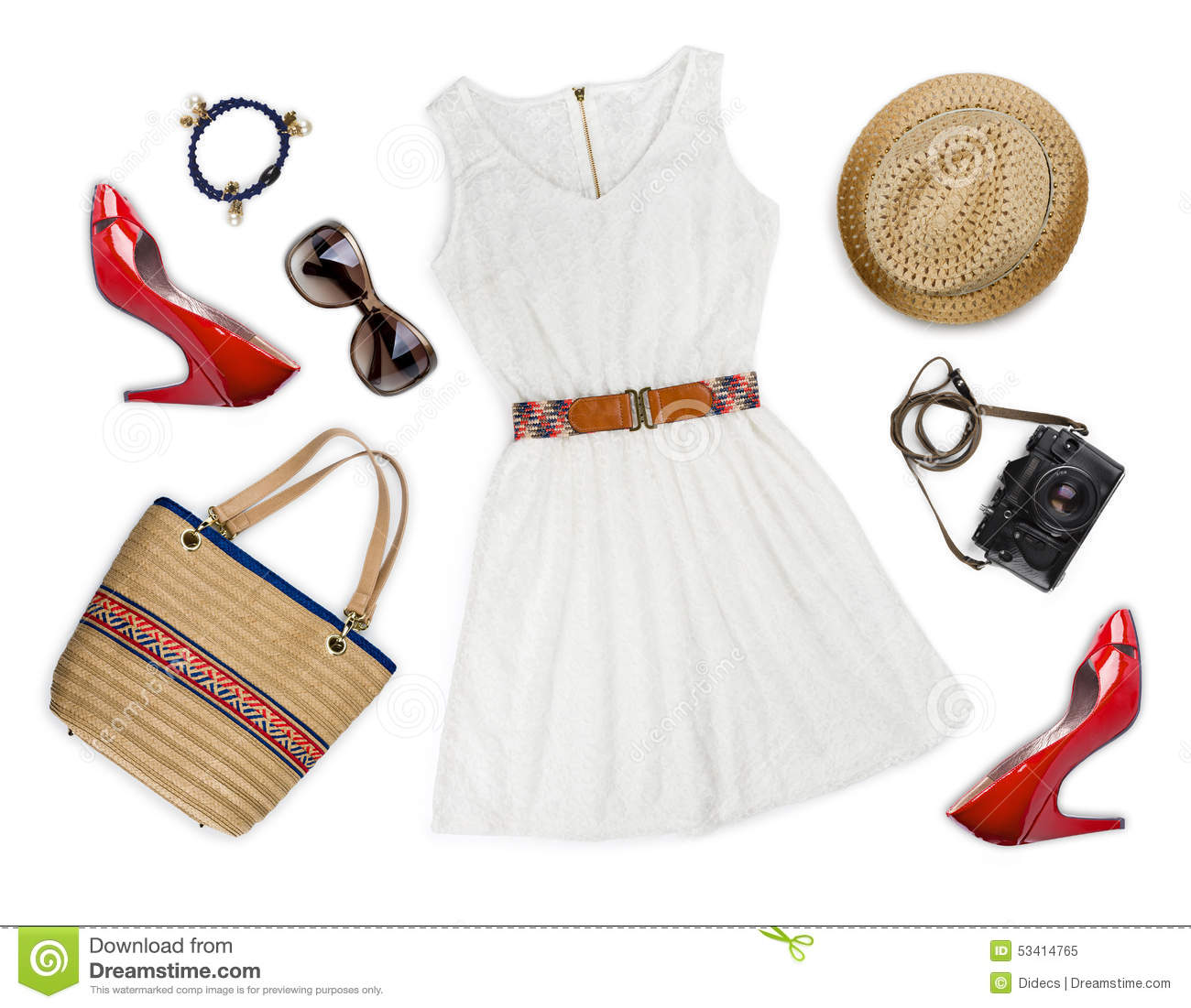Collage of tourist clothing and accessories isolated on white