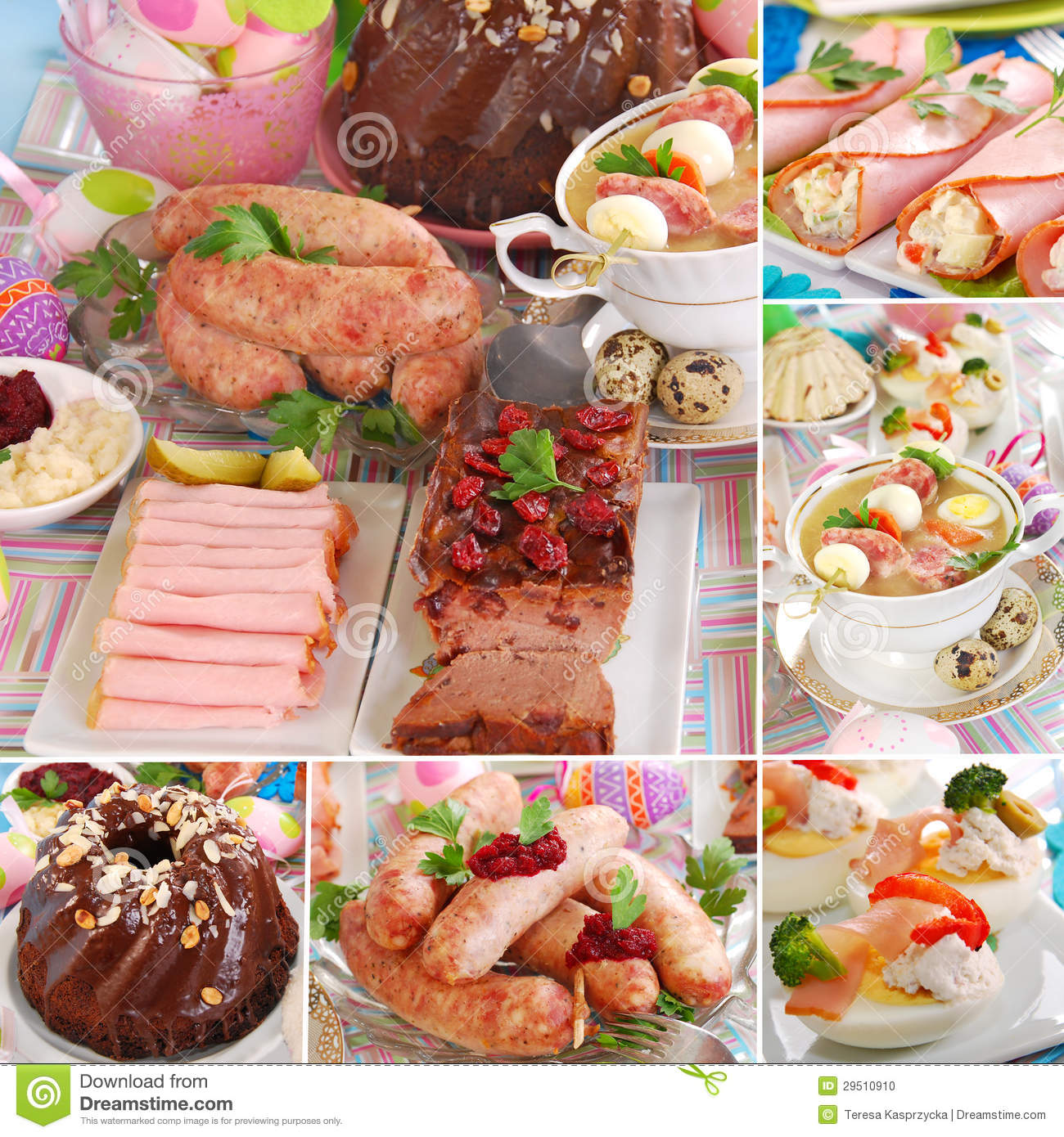 Collage with traditional polish easter dishes stock photo for What is a traditional easter dinner