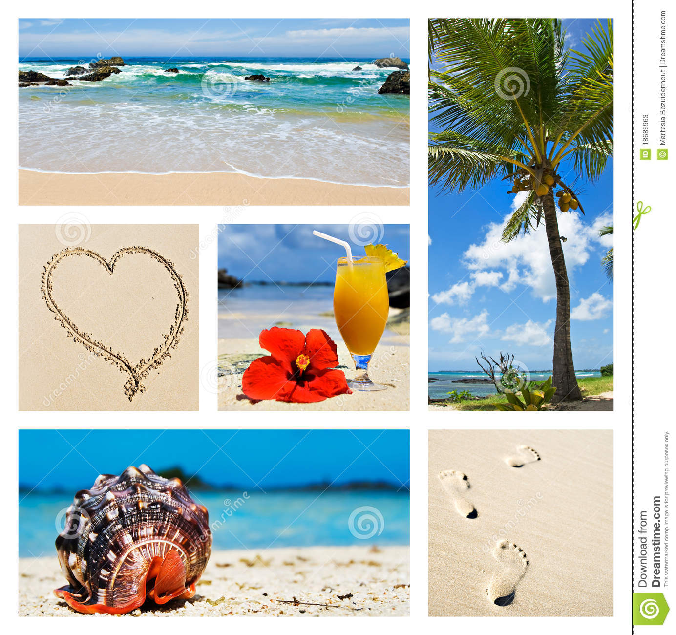 Island Beach Scenes: Collage Of Tropical Island Scenes Stock Image