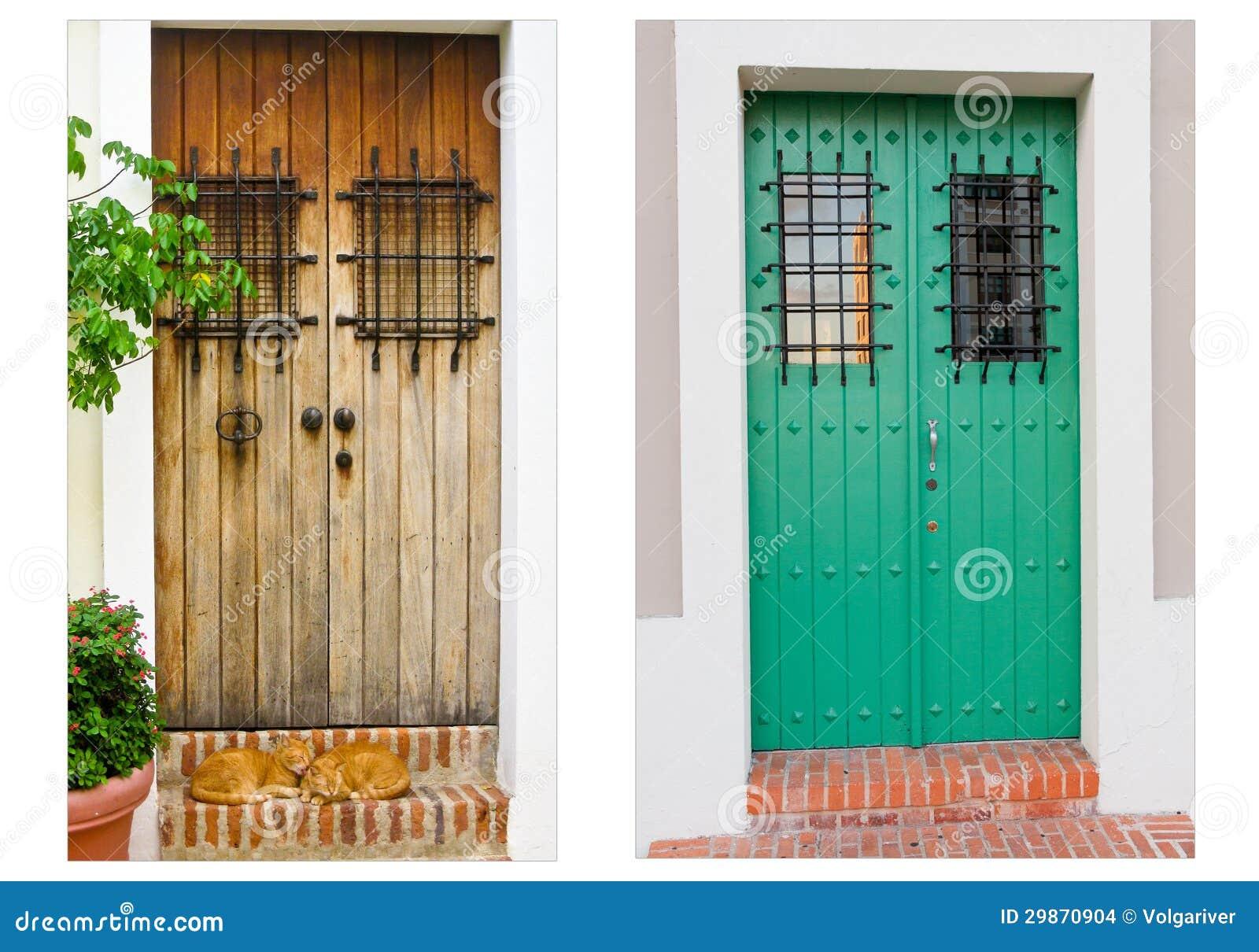 Collage Of Two Doors In Old San Juan Puerto Rico Stock