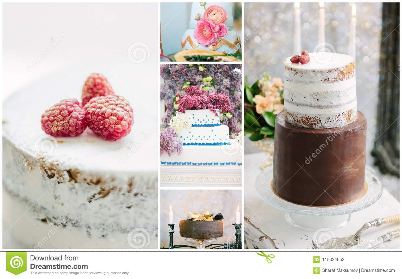 Collage Of Unusual And Beautiful Wedding Cakes With Flowers And ...
