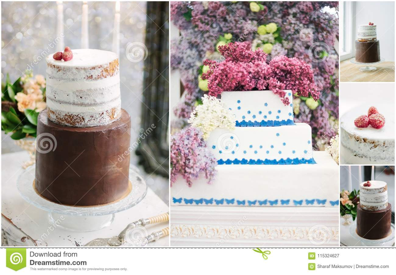 Collage Of Unusual And Beautiful Wedding Cakes With Flowers And