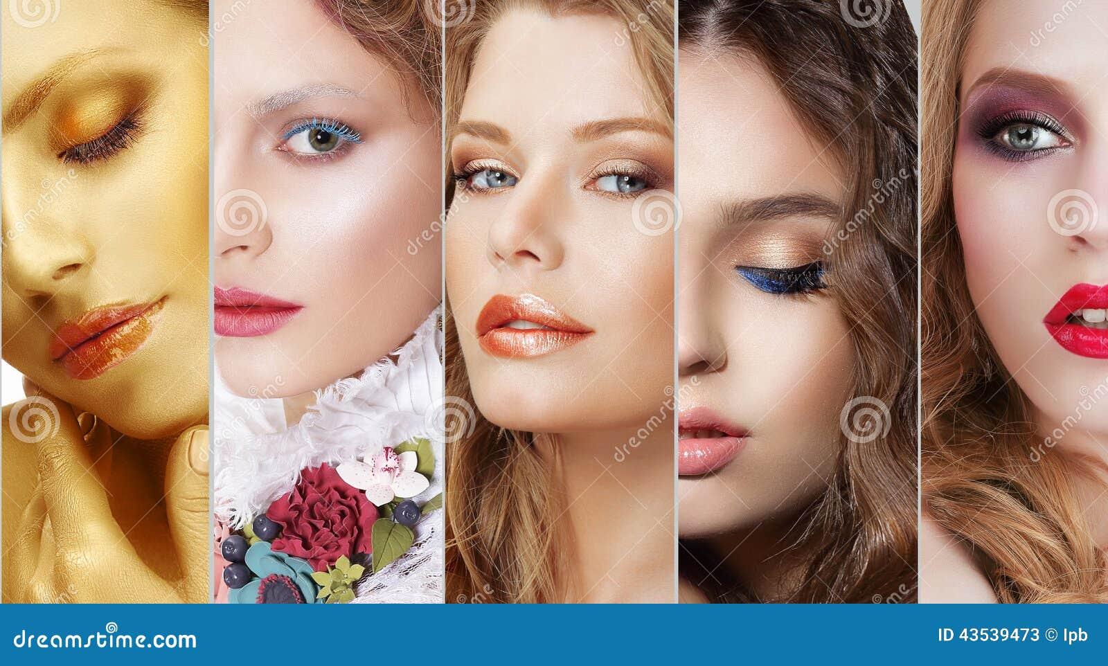 Collage Uppsättning av kvinnors framsidor med olik färgrik makeup