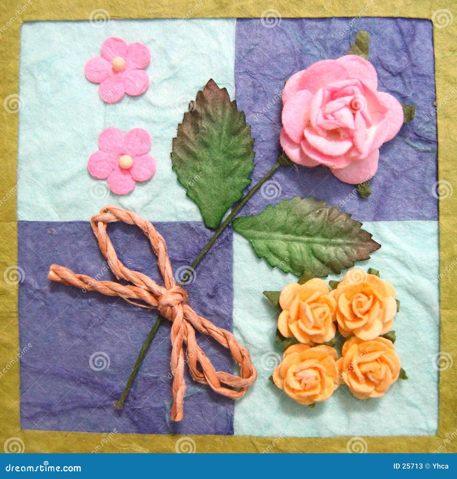 Collage van bloemen op dekbed
