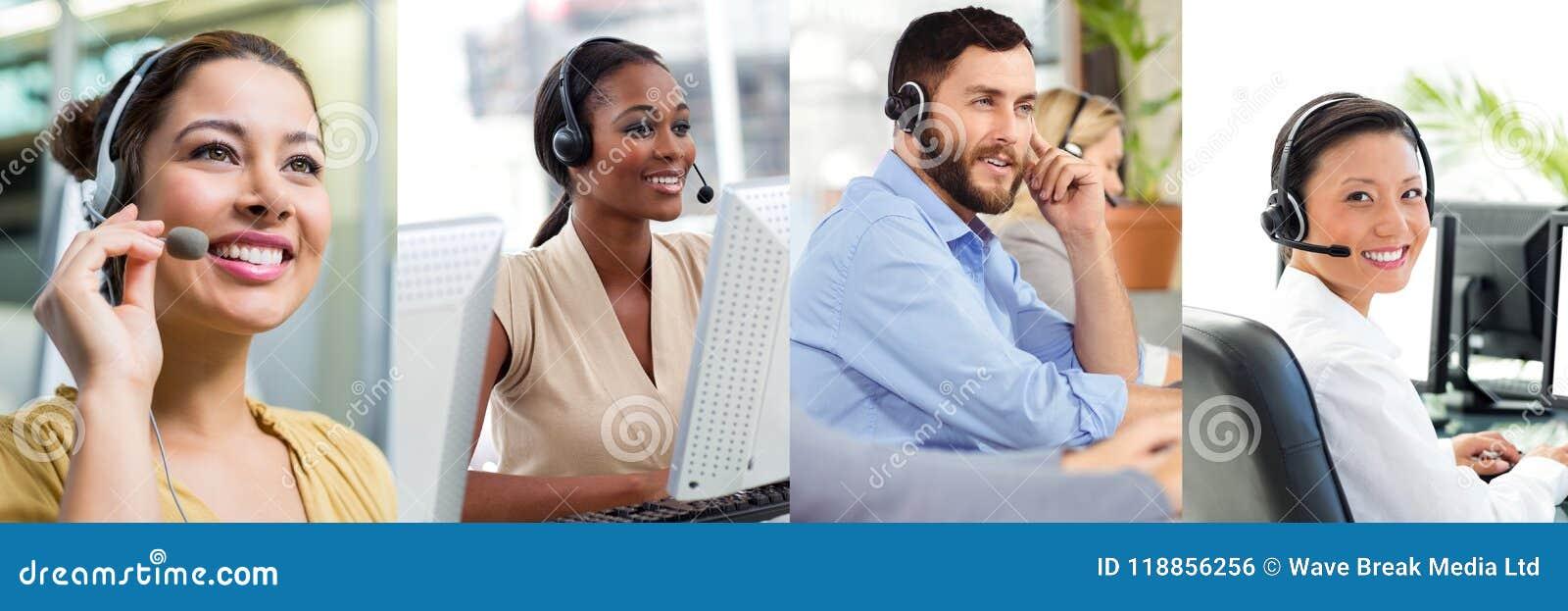 Collage van de hulpteam van de Klantendienst in call centre
