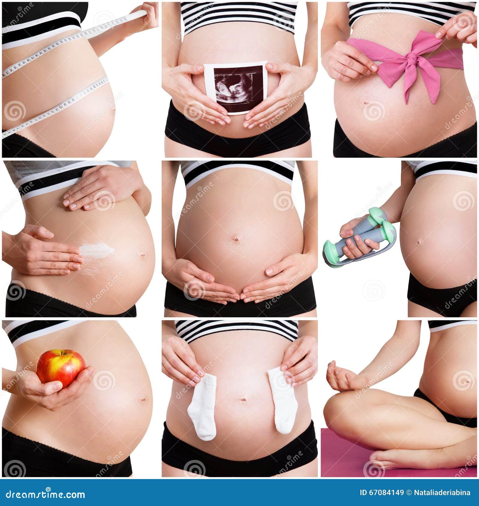 Collage van een gezonde zwangerschap