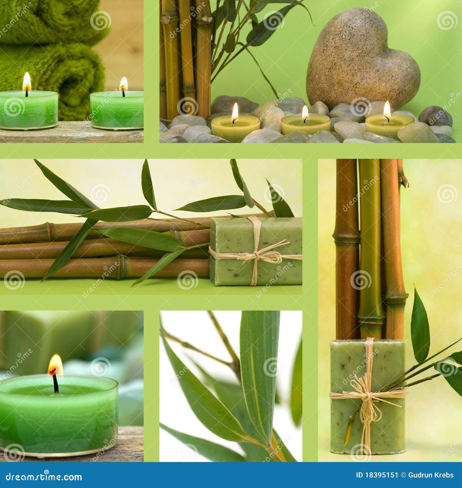 Collage van groene wellnessmotieven