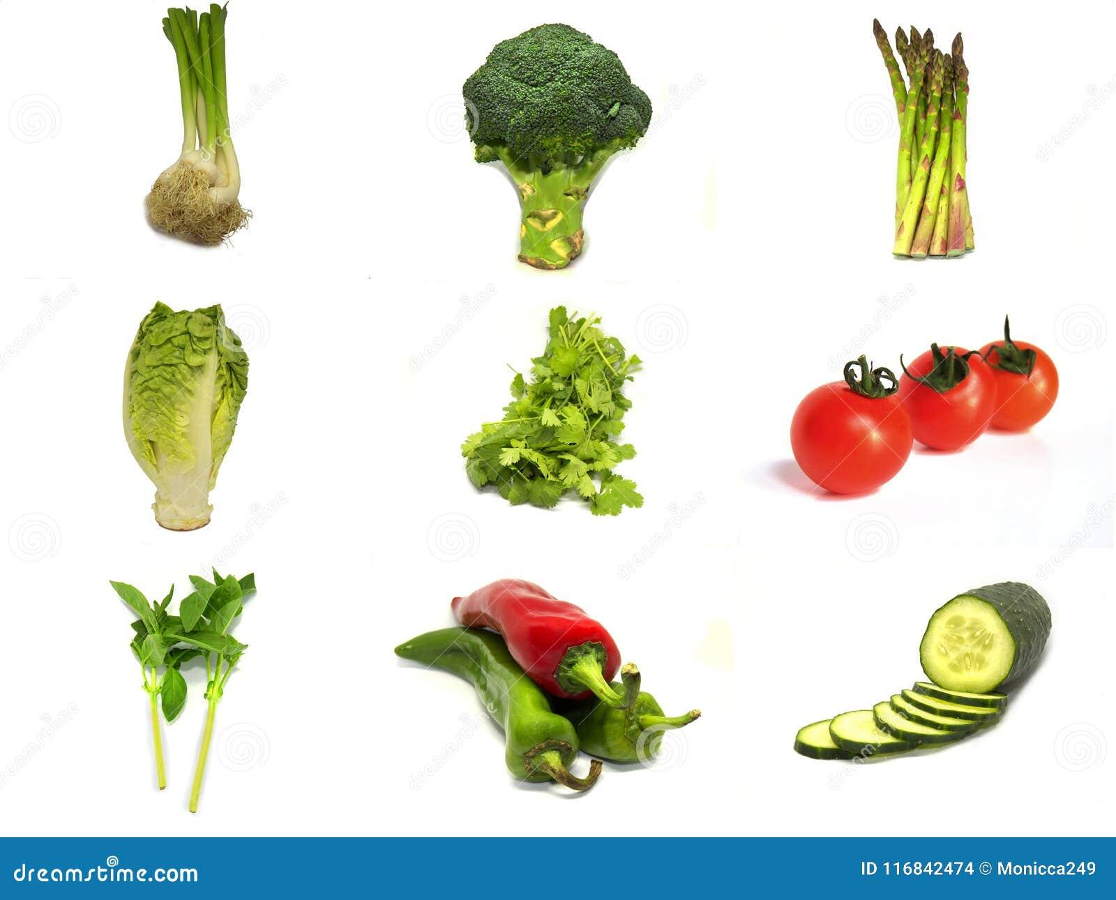 Collage van groenten met witte achtergrond wordt geïsoleerd die