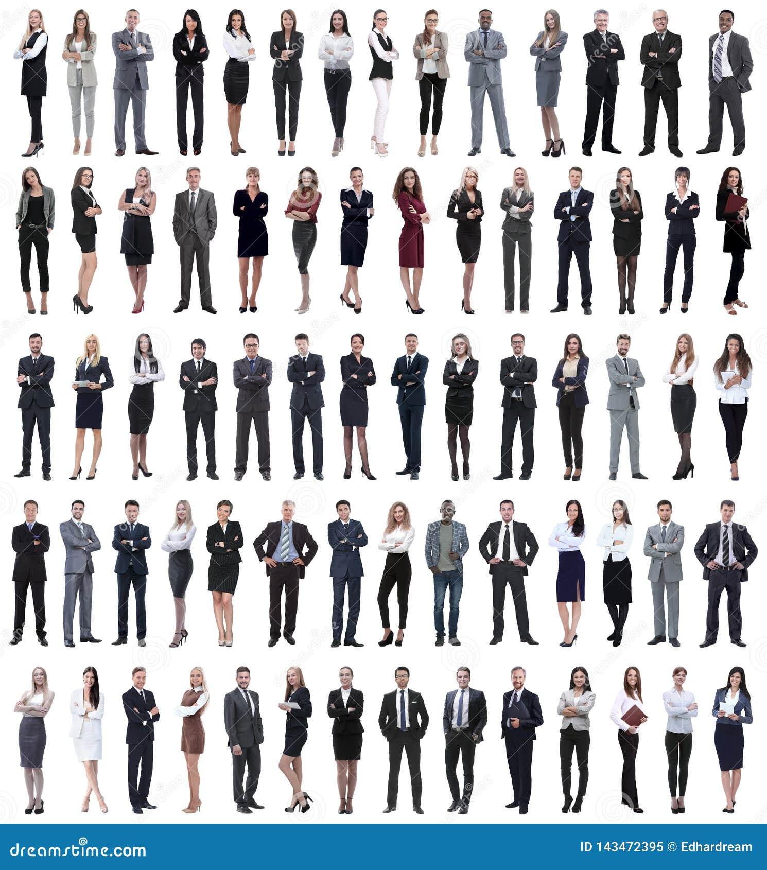 Collage van jonge bedrijfsmensen die zich op een rij bevinden