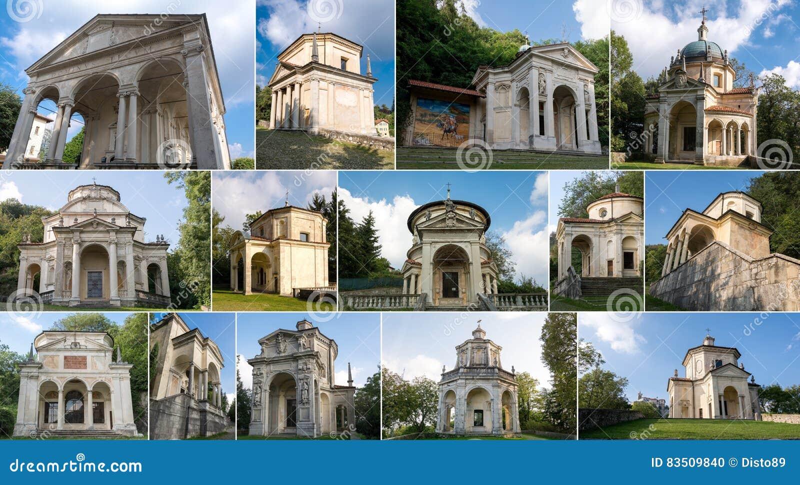 Collage Van Kapels In Sacro Monte Di Varese Italië Stock Foto ...
