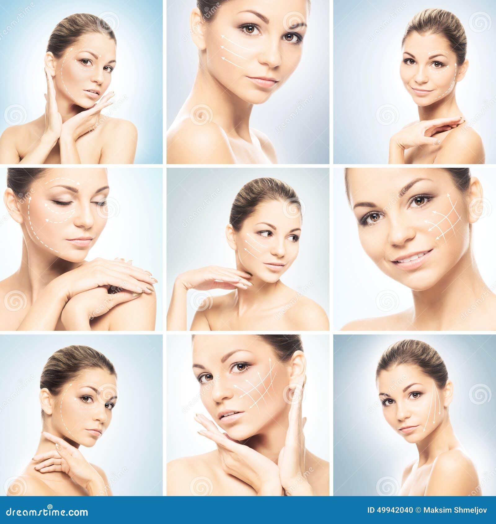 Collage van portretten van jonge vrouwen in make-up