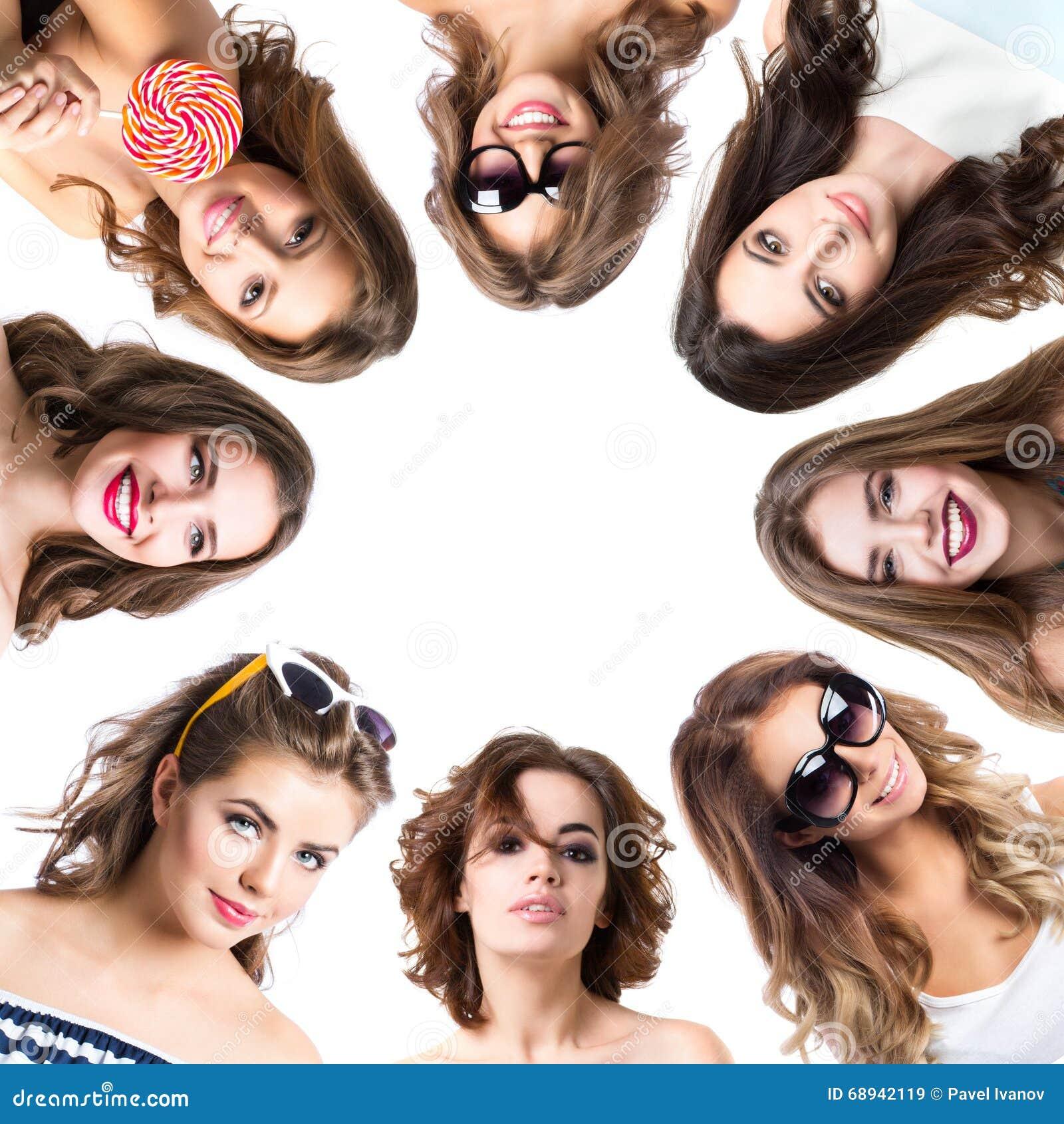 Collage van schoonheidsportretten van vrouwen