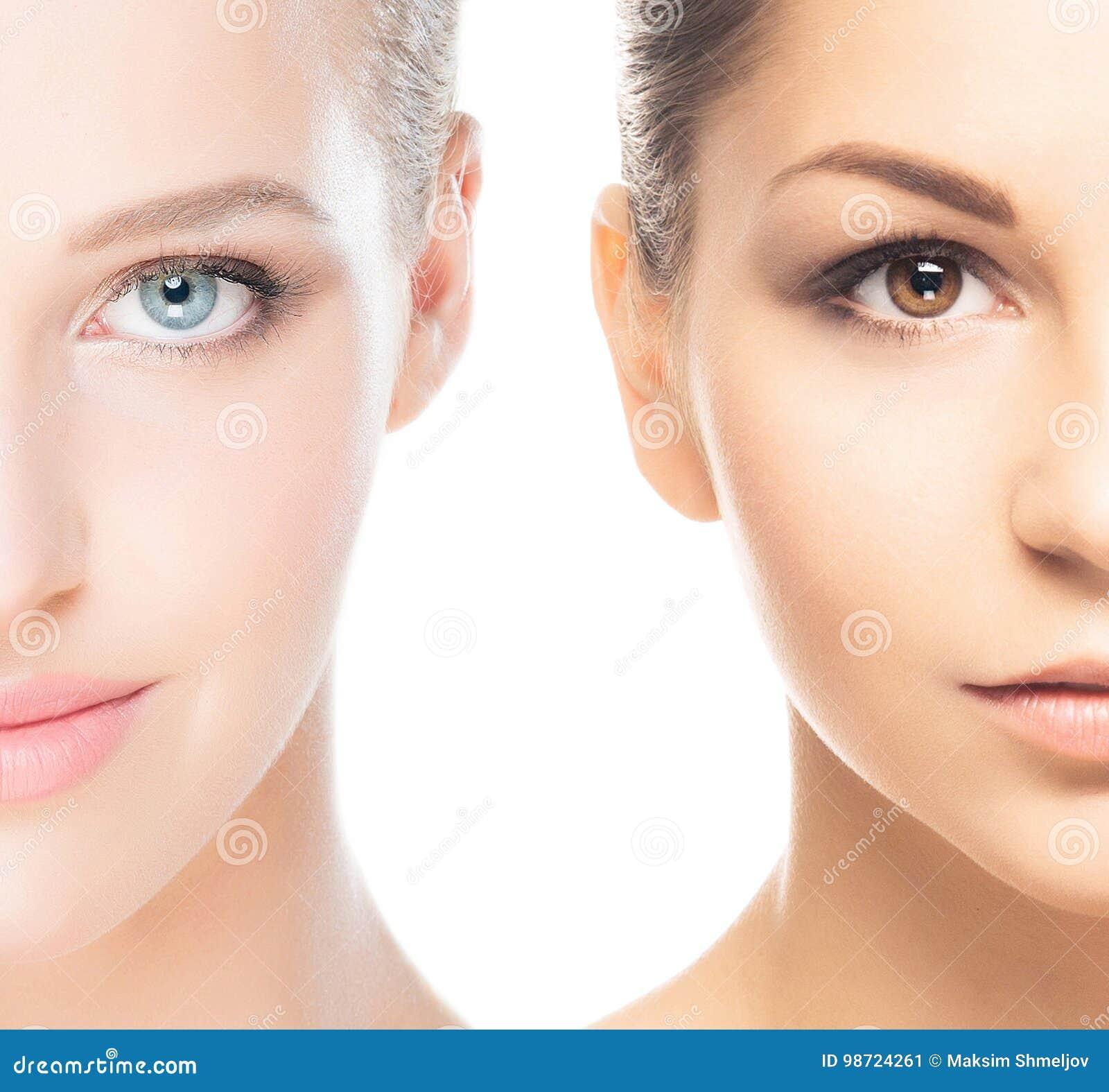Collage van twee kuuroord vrouwelijke portretten