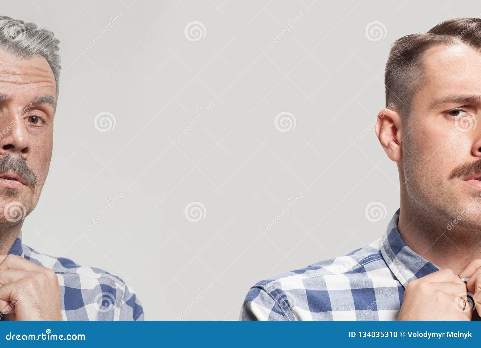 Collage van twee portretten van dezelfde oude man en de jonge mens , En skincare concept gezicht die opheffen verouderen Conparis