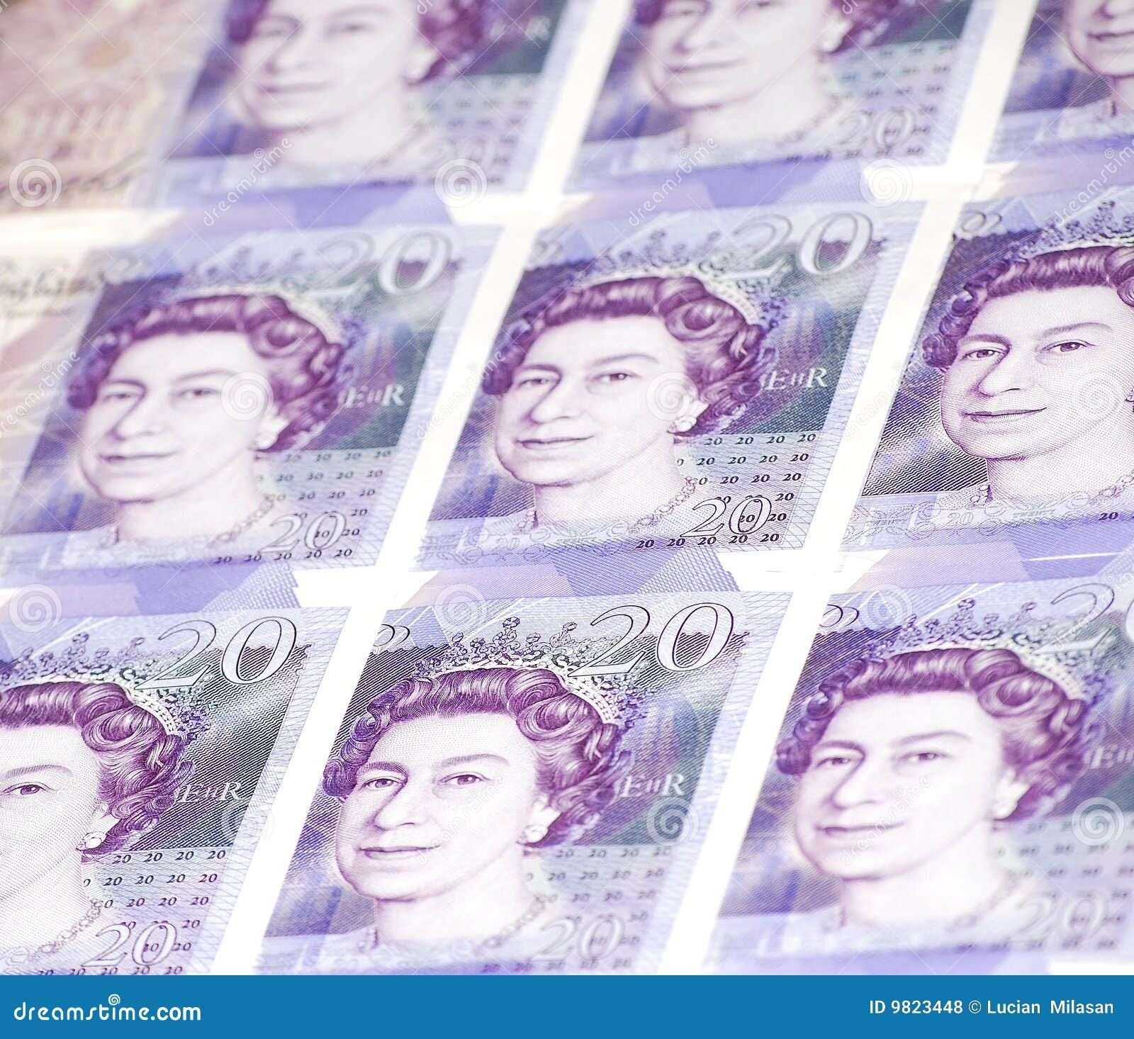 Collage van Twintig (20) Bankbiljetten van Ponden