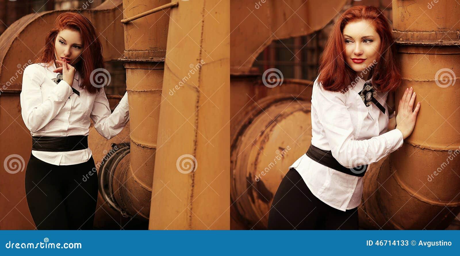 Collage van uitstekende portretten van mooi roodharig meisje