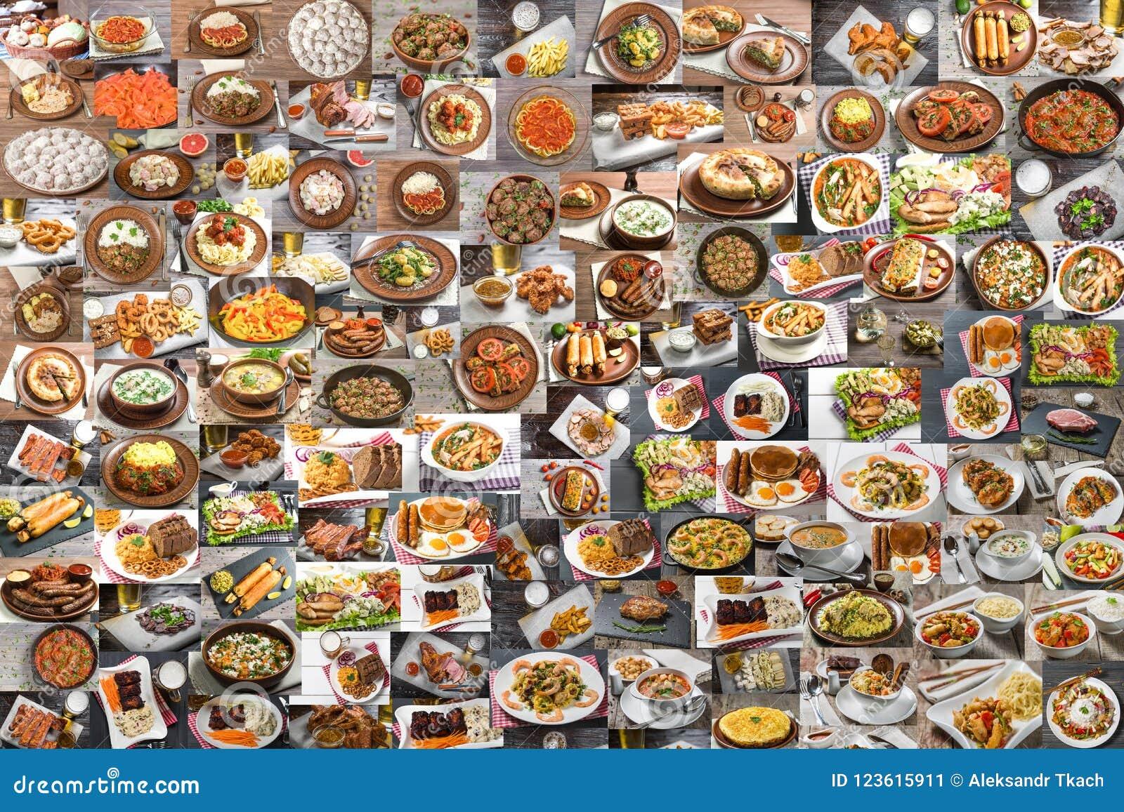 Collage van veel voedsel