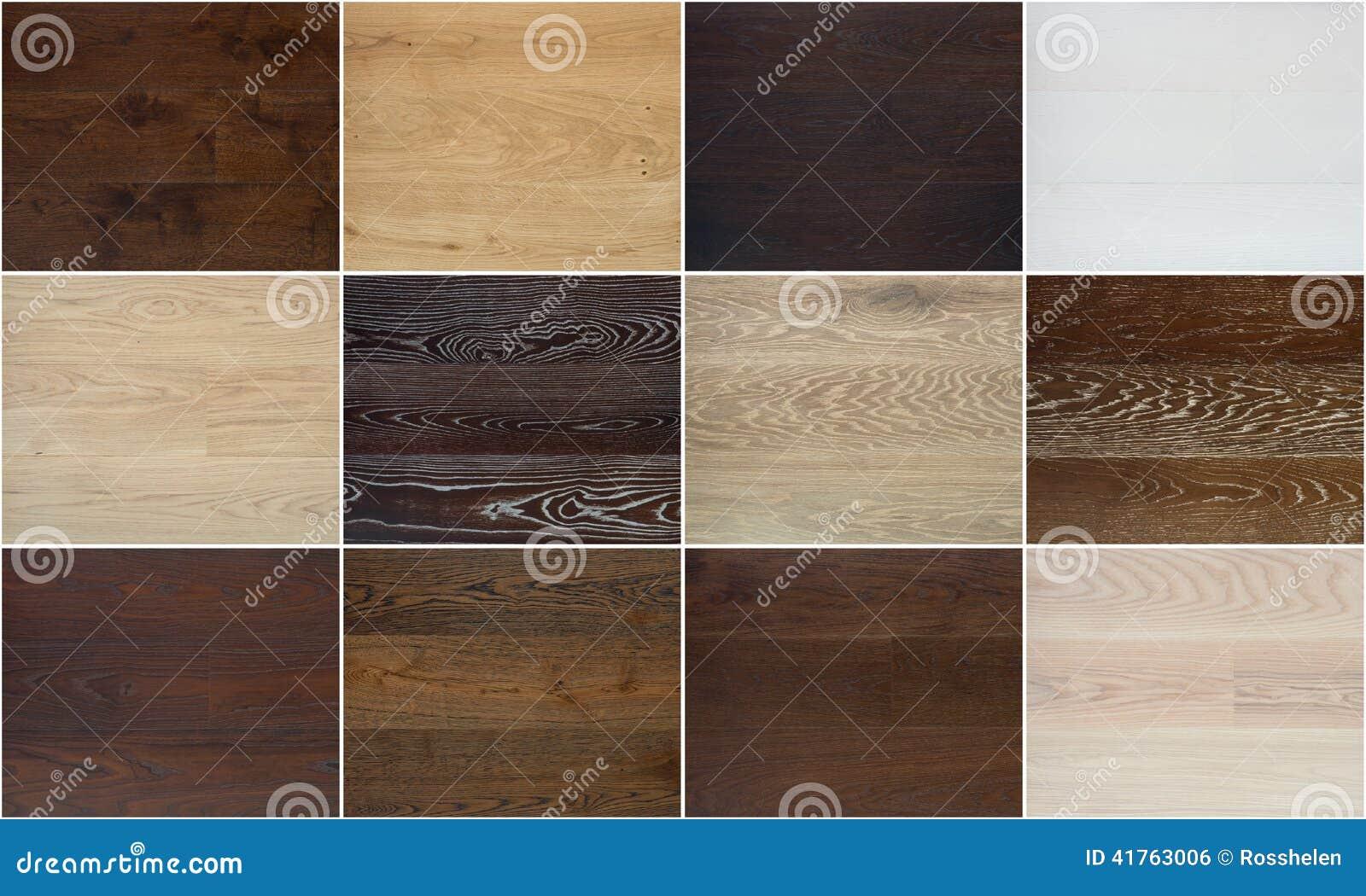 Partij Houten Vloer : Collage van verschillende houten vloertexturen stock foto