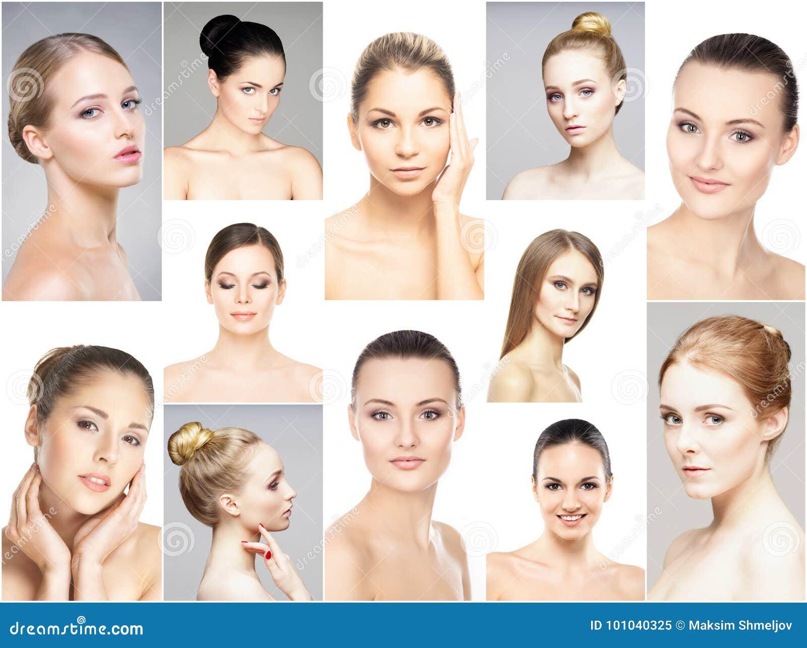 Collage van verschillende portretten van jonge vrouwen in make-up