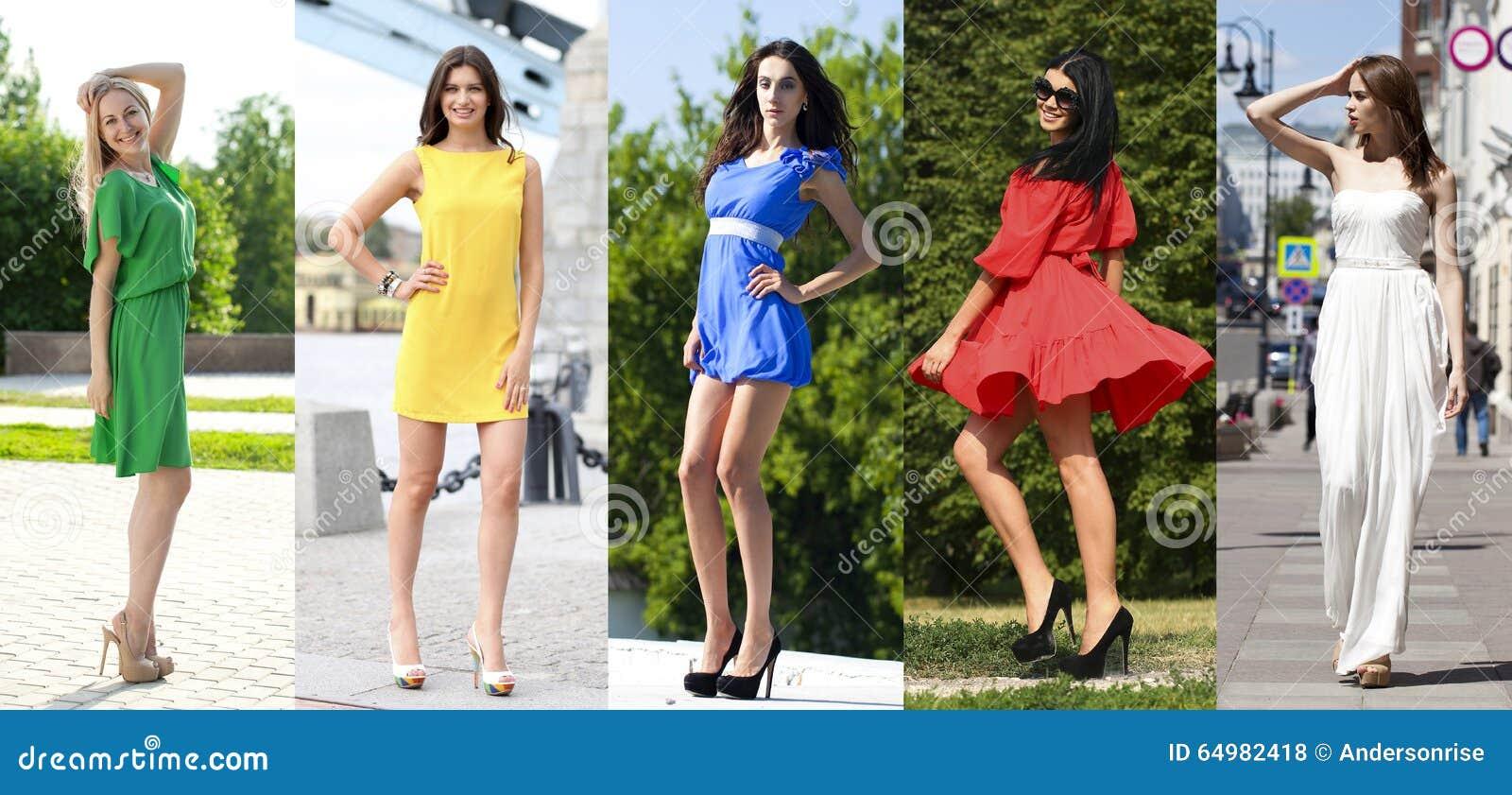 Collage van vijf mooie modellen in gekleurde de zomerkleding