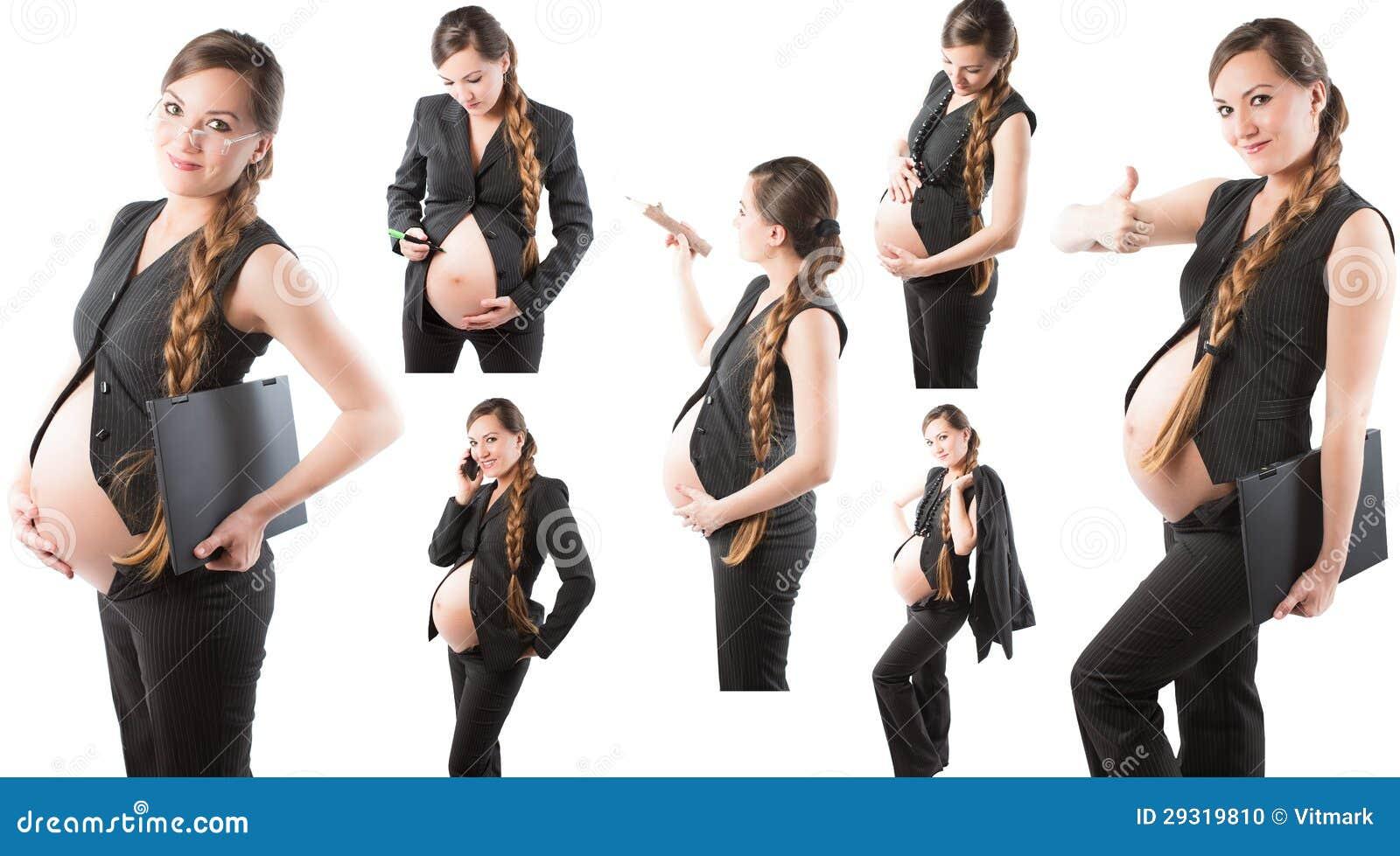 Collage van zwangere onderneemster op witte achtergrond stock foto afbeelding 29319810 - Secretaresse witte ...