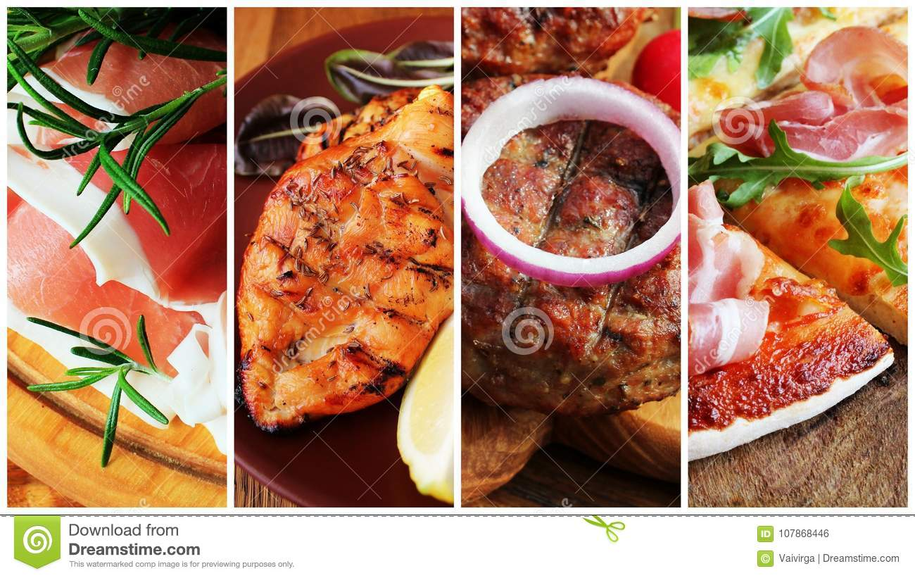 Collage of various food products