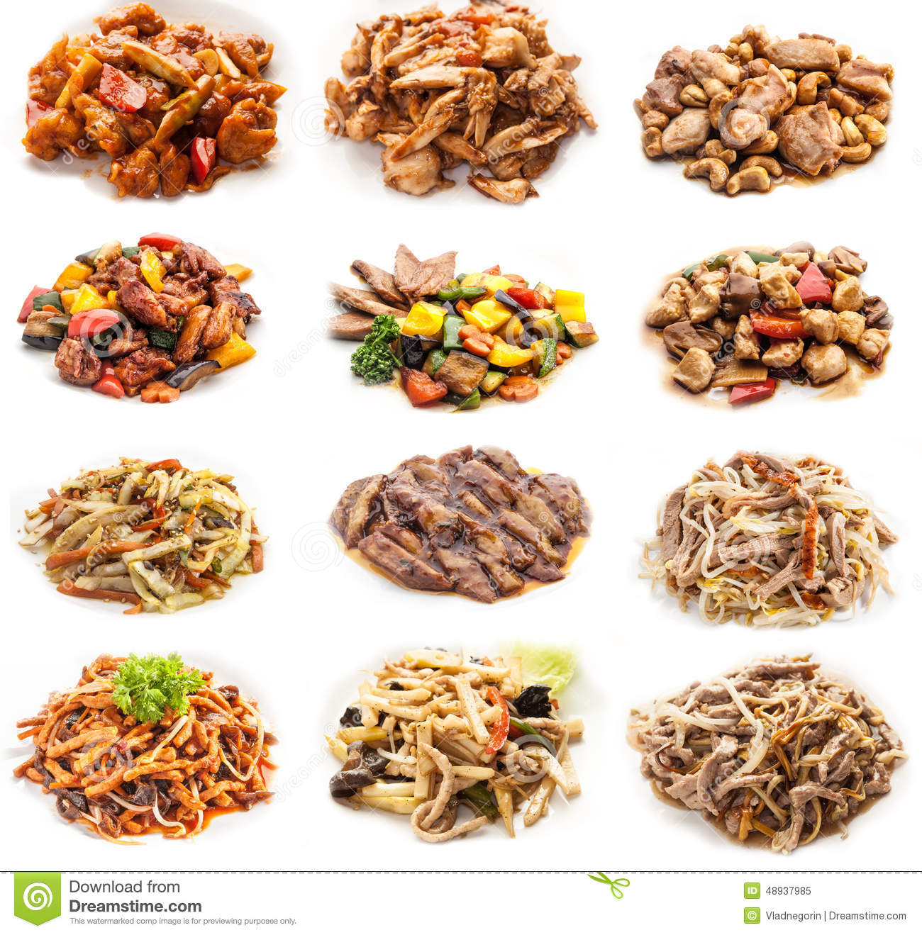 Collage Of Various Meals With Meat And Chicken Stock Photo