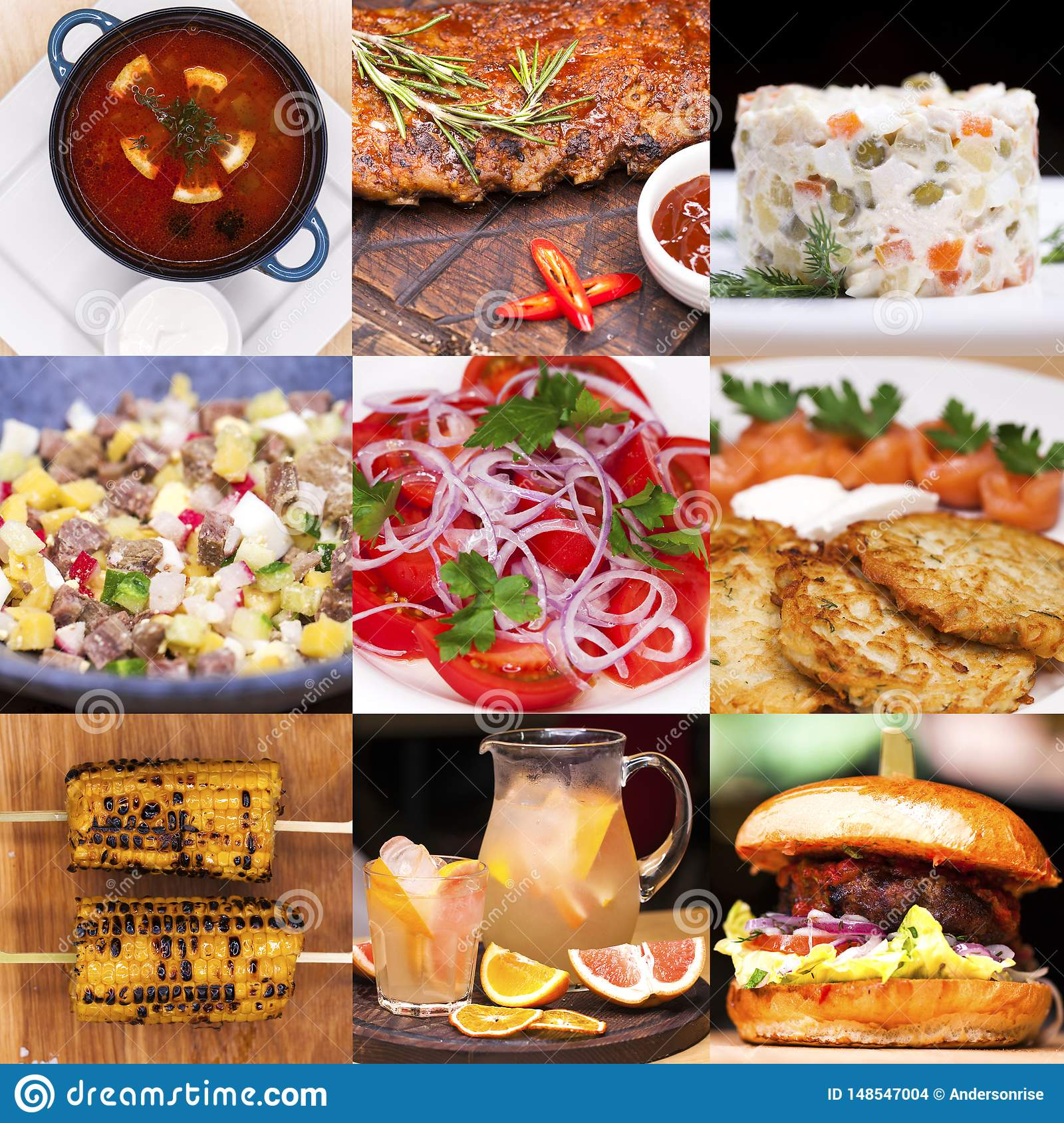 Collage various restaurant dishes