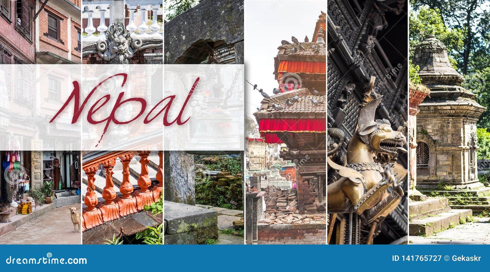 Collage von Ansichten von Nepal