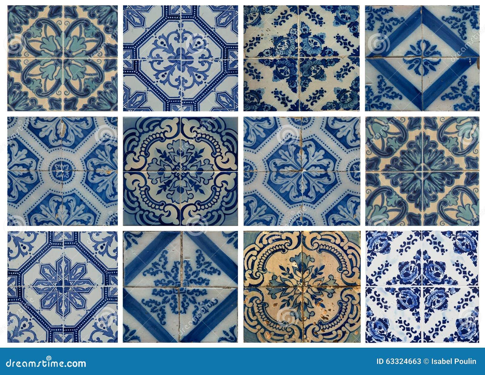 collage von blauen musterfliesen in portugal stock. Black Bedroom Furniture Sets. Home Design Ideas