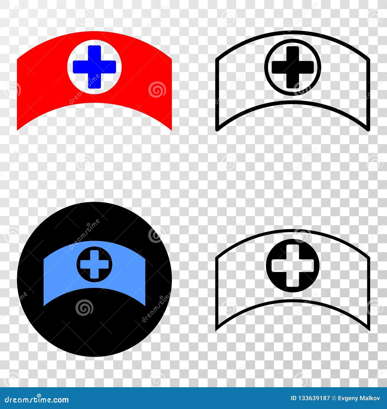 Collage von Gradiented punktierte medizinische Kappe und Grunged-Stempel
