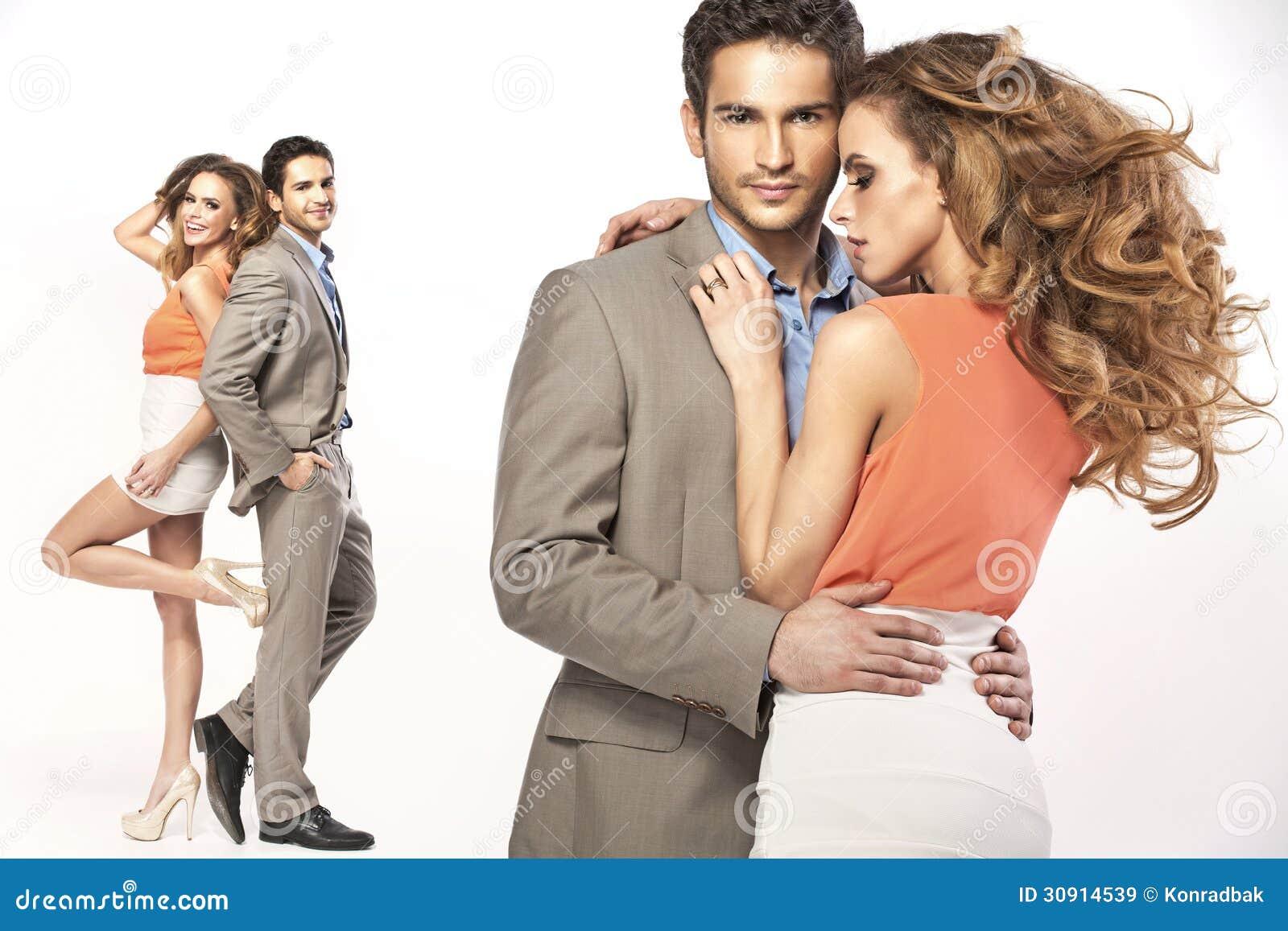 Collage von jungen lächelnden Paaren