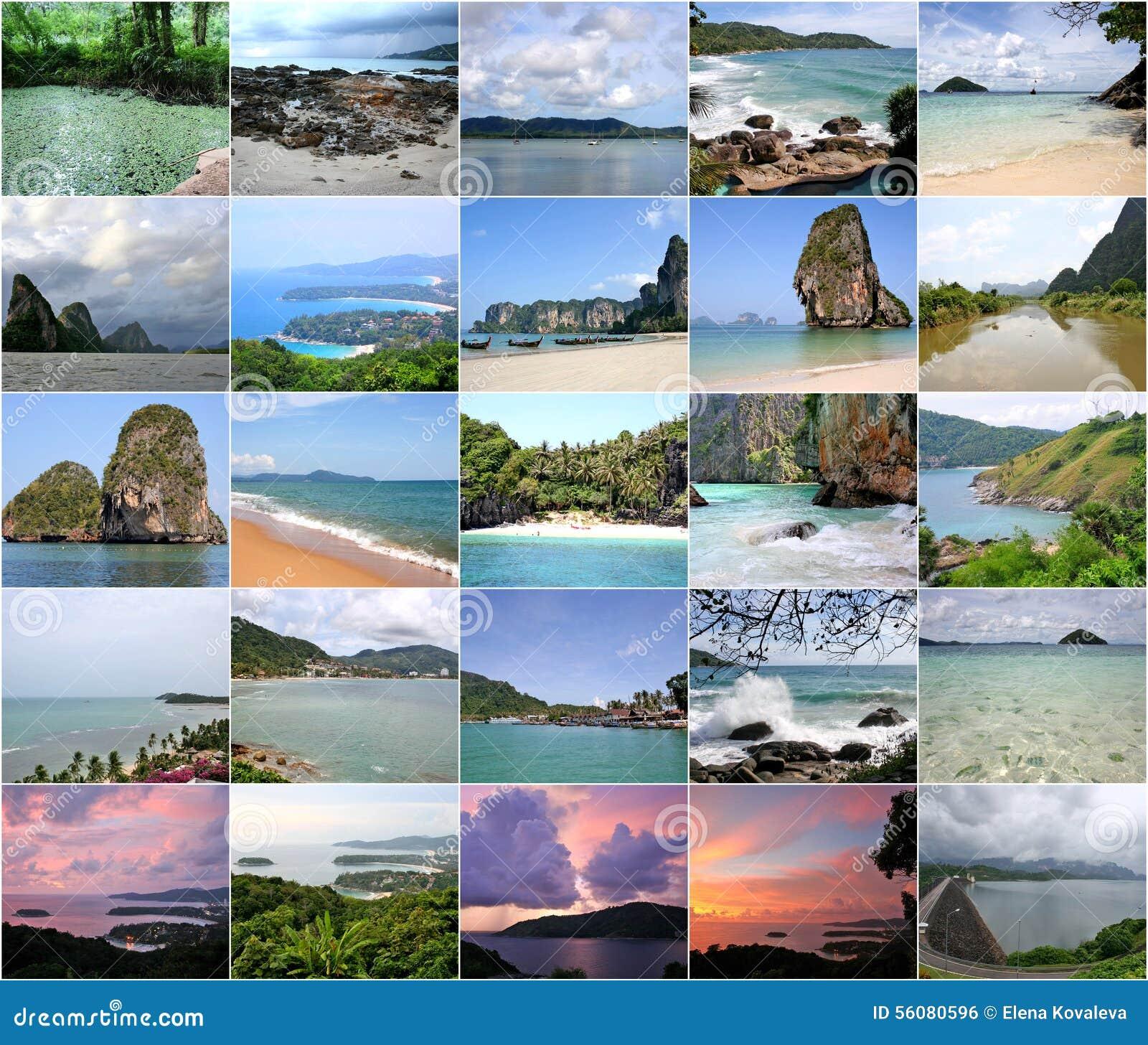 Collage von schönem Thailand in den Bildern