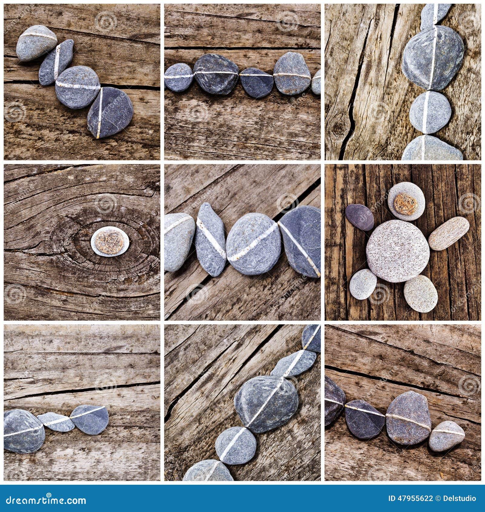 Collage von steinen auf holz stockfoto bild 47955622 - Gartenbank aus stein und holz ...