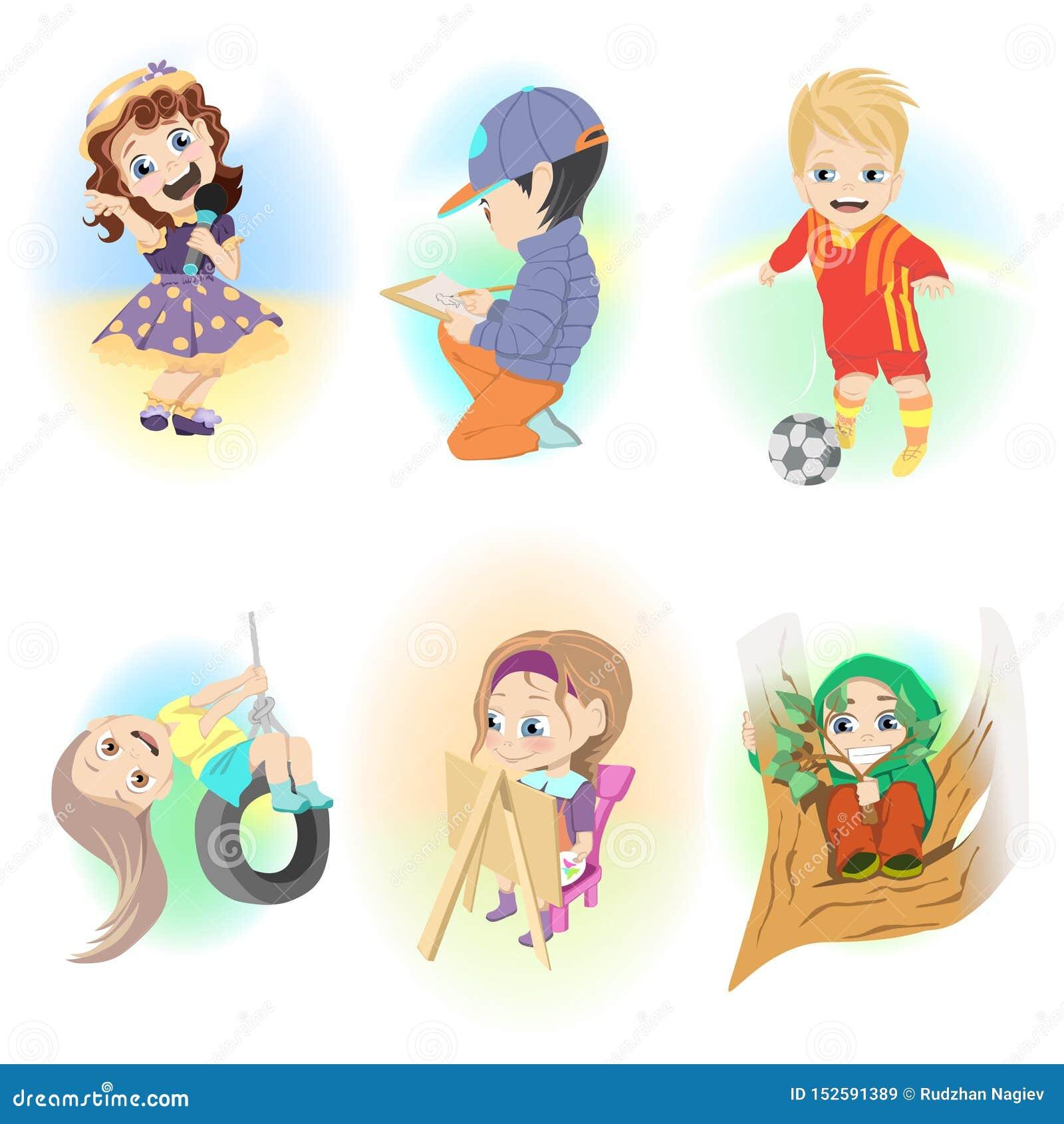 Collage von verschiedenen Vektorillustrationen Kinder haben Spaß und das Spielen in der Freizeit