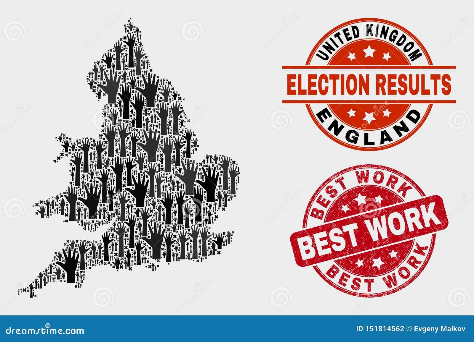Collage Wahl-England-Karte und der verkratzten besten Arbeits-Robbe
