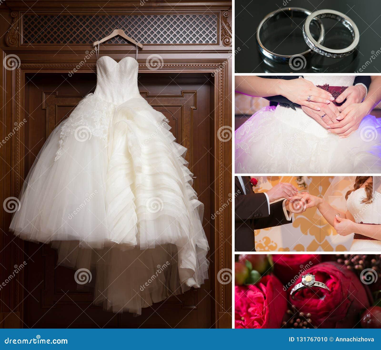 Collage Of Wedding Photos Bridal Bouquet Dress Beautiful