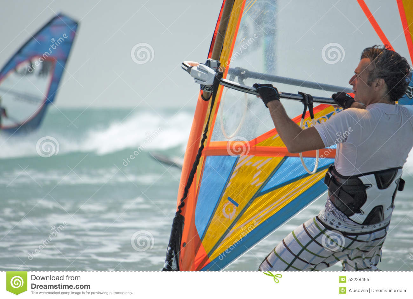 Windsurf Men Adult In Ocean Stock Image - Image of jumping