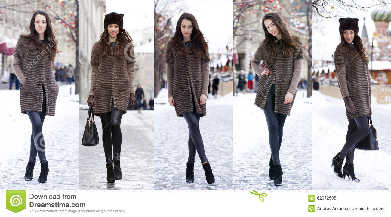 Collage Winter Fashion Young Beautiful Women Stock Image Image Of