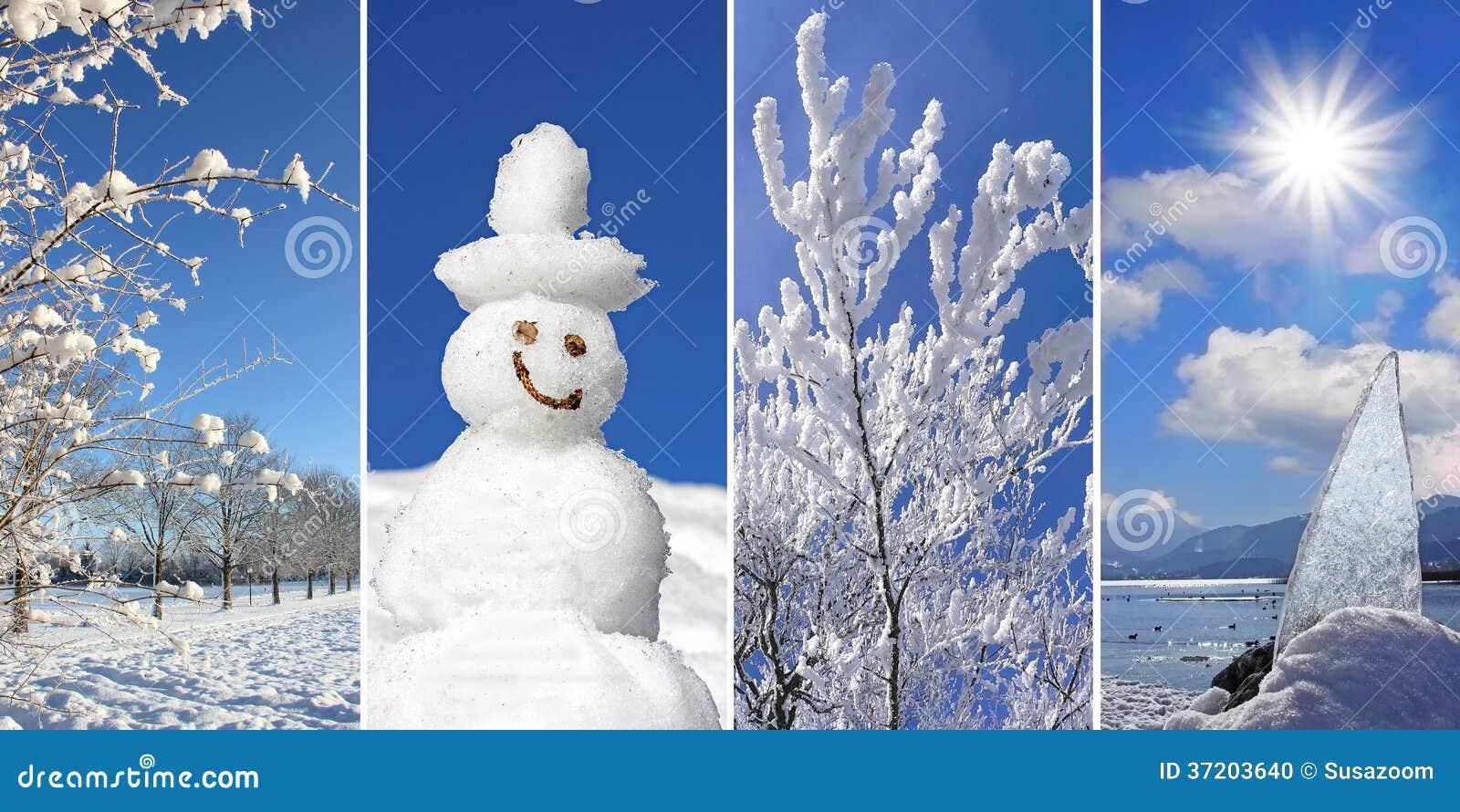 Collage winterzeit winterliche landschaft schneemann schnee bedeckte br stockfoto bild - Winterliche bilder kostenlos ...