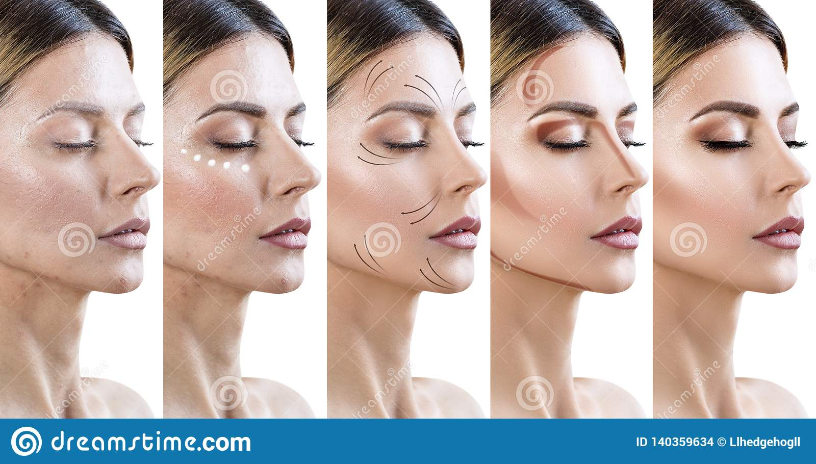 Collage Of Woman Applying Makeup Step By Step Stock Photo Image Of Woman Collage 140359634