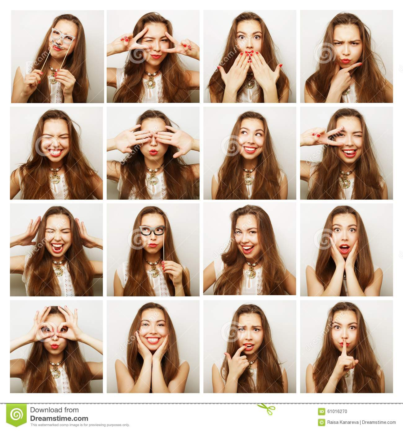 Collage of woman different facial expressions.