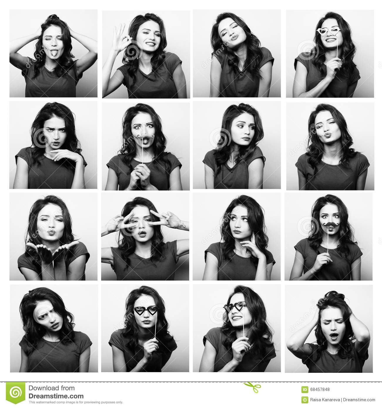 Collage of woman different facial expressions.Studio shot.