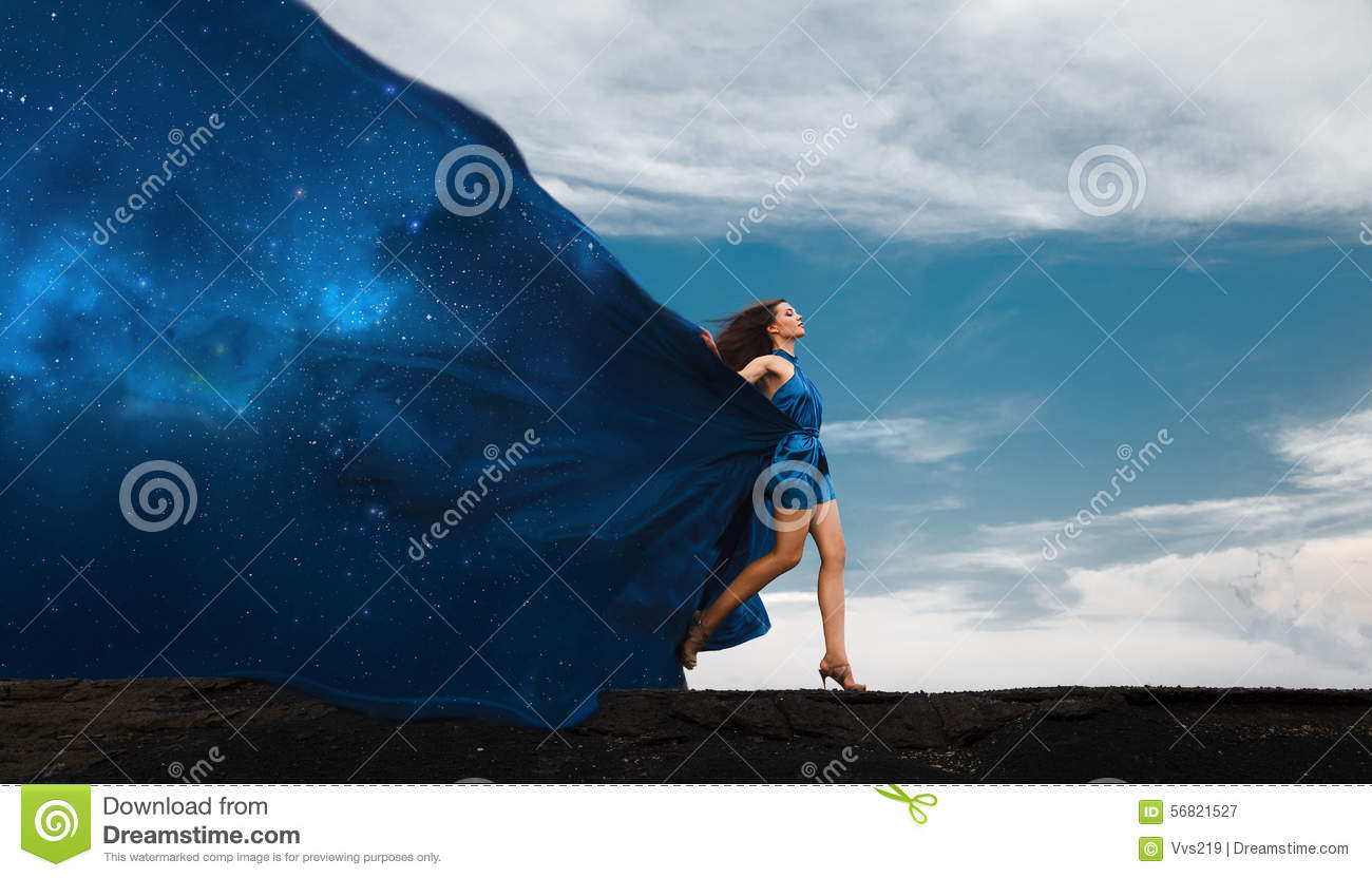 Collage with woman in dress and space dress. Day and night.