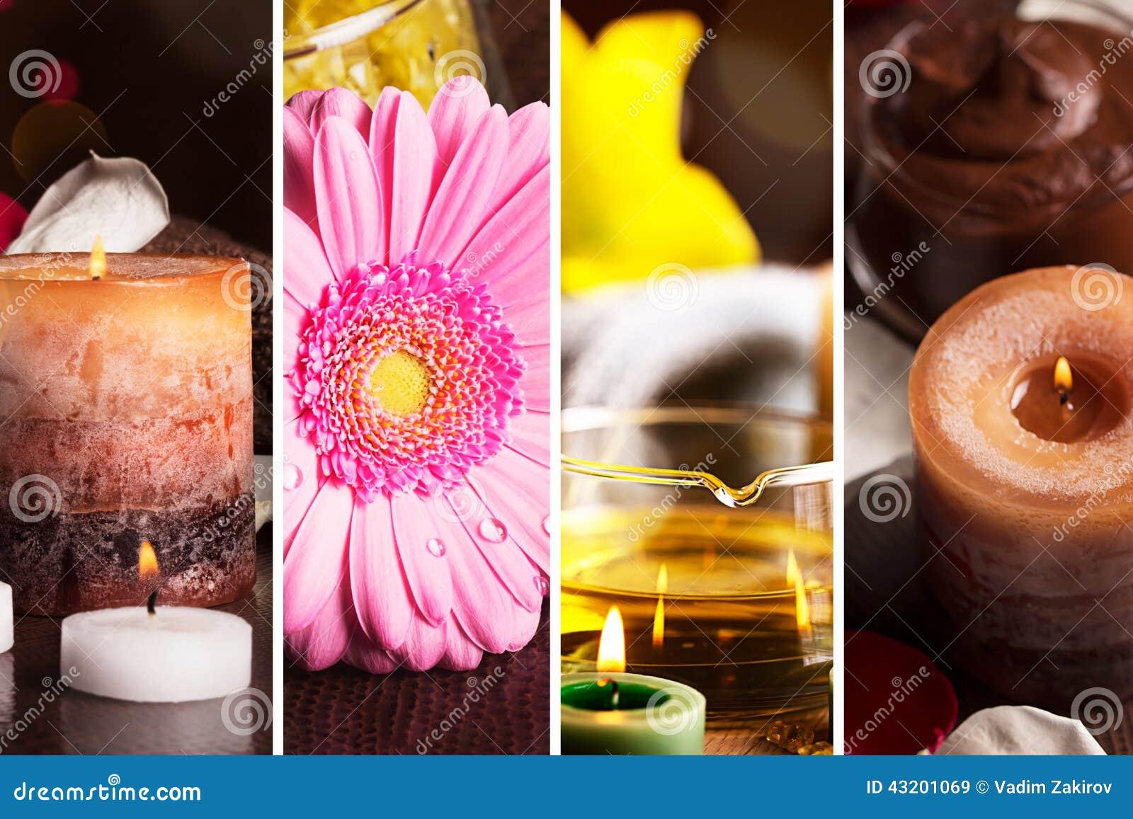 Download Collagebilder Ställde In Brunnsorttema Fotografering för Bildbyråer - Bild av blommor, livstid: 43201069