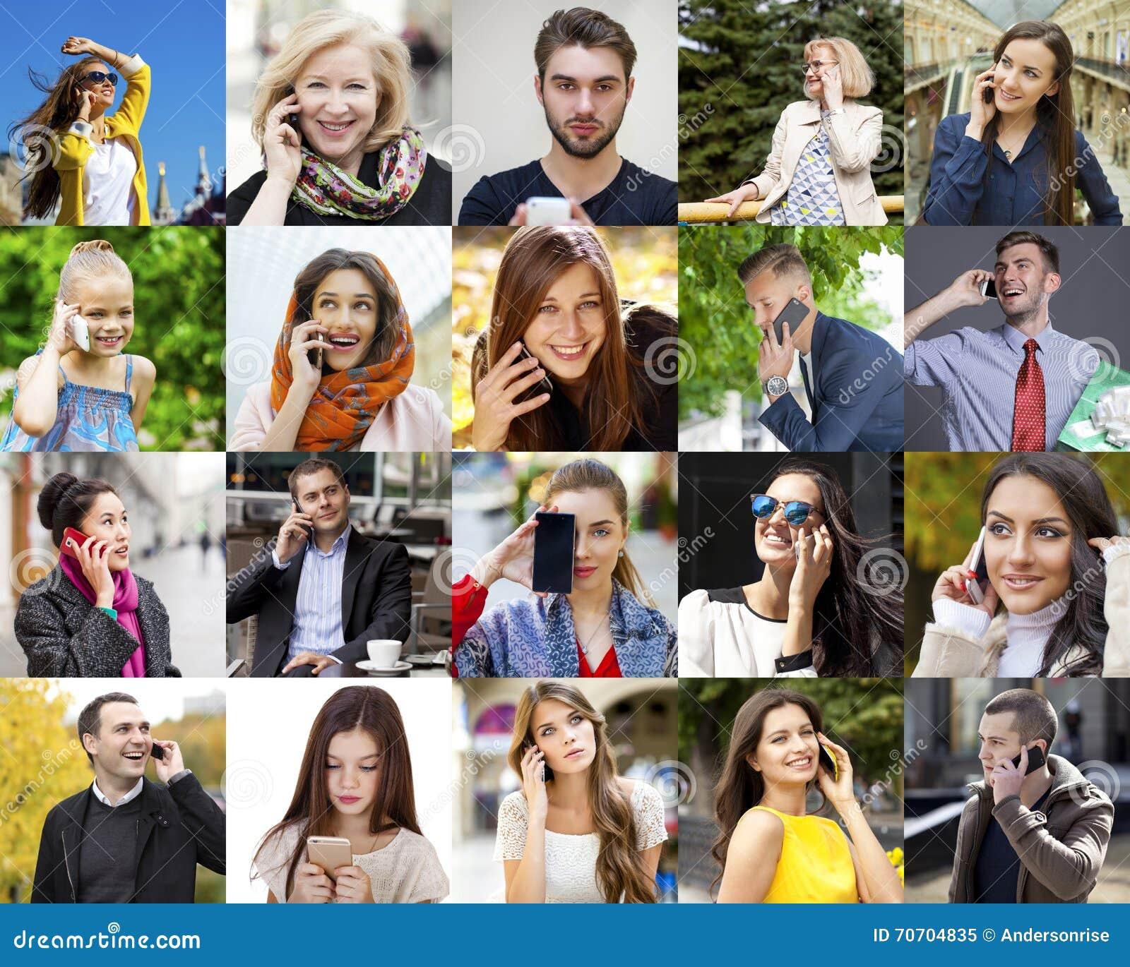Collagefolk som stannar till telefonen